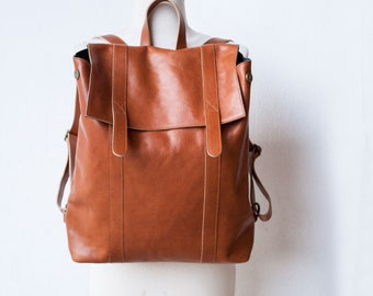 Leather Backpack in Cognac / Brown Leather Backpack / Leather Bag / Brown Leather Bag / Big Backpack / Brown Backpack / Unisex backpack