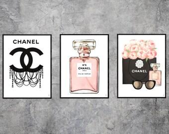Set of 3 Chanel illustrations, fashion illustration, fashion wall art, fashion sketch, fashion print, fashion poster