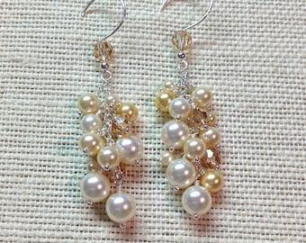 Champagne Cluster Earrings, Swarovski Pearl and Crystal Bridal Earrings, Cream and Gold, Sterling Silver,Elegant Wedding Jewelry, OOAK