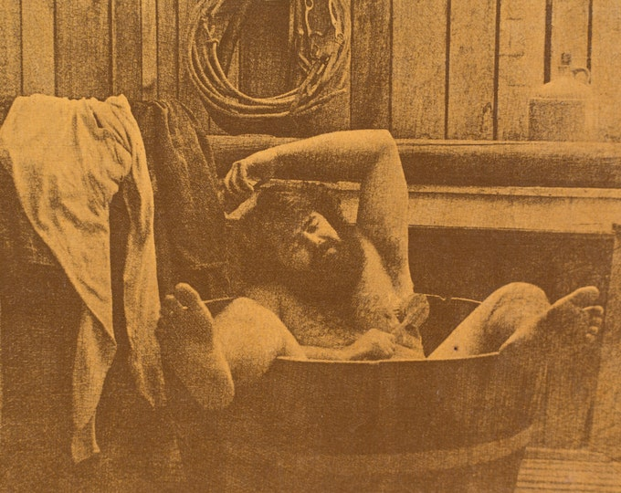 Vintage Framed photo of Man in Wood Barrel Bathtub with Feet Hanging out While Washing His Armpit - Mancave Cottage Cabin Decor