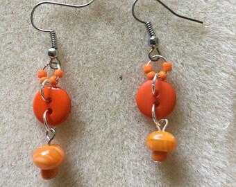 Orange Button Dangle Earrings
