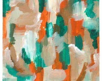 Abstract Art Print: Woodwork Orange