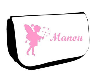 Black cosmetic case /crayons fairy personalized with name