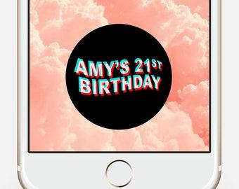 Birthday Snapchat Filter 21, Bachelorette Snapchat Filter, 21st Birthday for her, Snapchat Filter, Snapchat Filter Birthday, Custom Filter