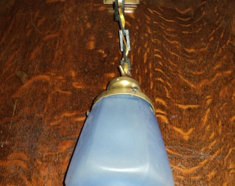Antique Wall Sconce/Fixture, Brass w. Blue Shade