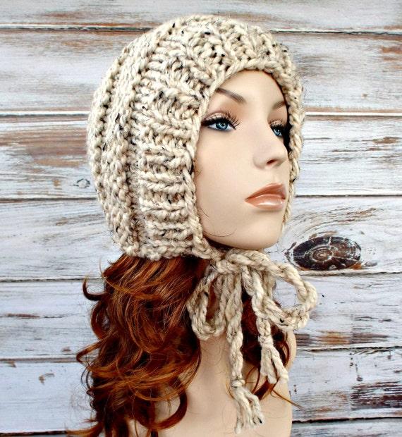 Knit Hat Womens Hat Ear Flap Hat Beanie - Georgette Beehive Bonnet Hat in Oatmeal Knit Hat - Oatmeal Hat Womens Accessories Winter Hat