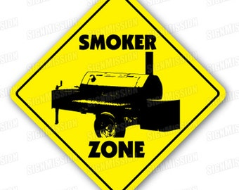 SMOKER ZONE Sign bbq barbeque grill gift bar b que