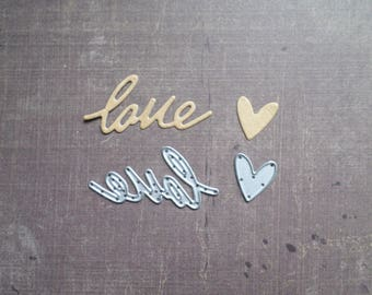 Die cut Sizzix Word Love and heart
