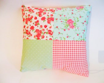 Pink and Green Patchwork Cushion Cover