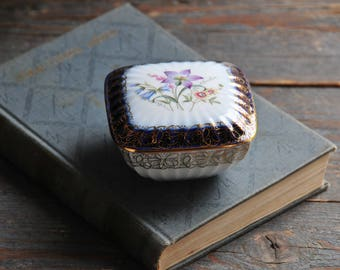 vintage P M German porcelain box, cobalt blue and gold porcelain jewelry box, floral porcelain trinket dish, COFV32