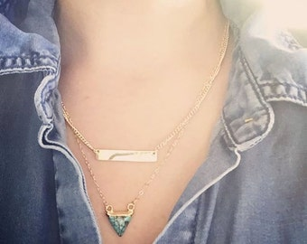 Akau necklace - turquoise necklace, turquoise gold necklace, boho jewelry, gold necklace, hawaii jewelry, layering necklace,ke aloha jewelry