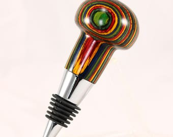 Bottle Stopper in Chrome with Oasis Laminate Body