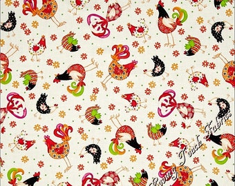 """QT Victoria Hutto """"Pecking Order"""" 24699-E Tossed Chickens Roosters Floral Fabric Priced Per 1/2 Yd (18"""" x 44"""")"""