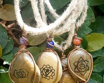Crystal Chakra Necklaces w. Copper Wire & Hemp (adjustable)