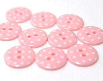 Pink and White Spotty 2 hole buttons. 15mm. Pack of 10