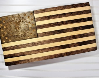 Air Force Flag-Rustic Wooden American Flag-Military Retirement PCS Gift-USMC-US Navy-Army-Coast Guard