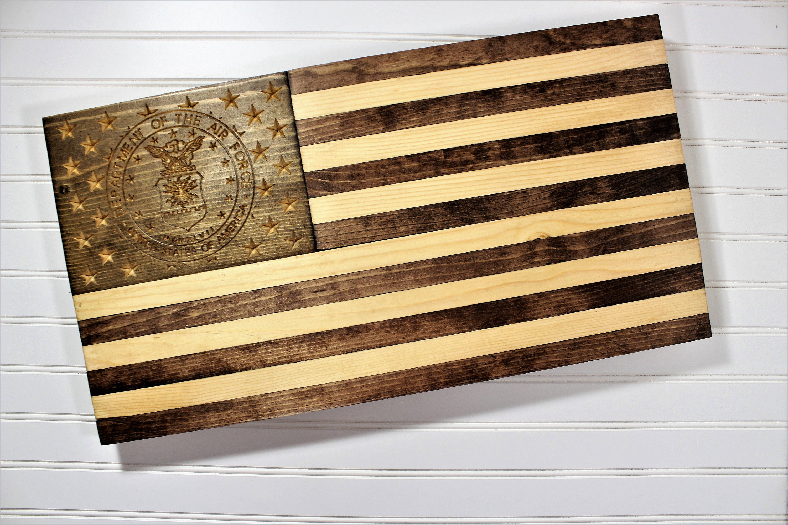 Air Force Flag-Rustic Wooden American Flag-Military Retirement