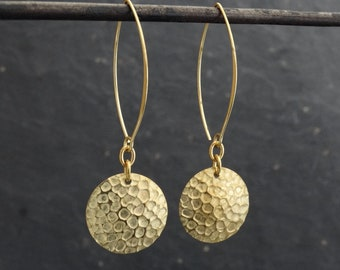 Brass Earrings, Boho Earrings, Hammered Earrings, Textured Earrings, Statement Earrings, Hoop Earrings