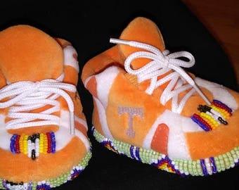 Custom bead work designz on baby slippers