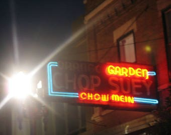 Chicago Photography, Lincoln Square, North Center, Chop Suey, vintage neon sign, Art Deco, red, restaurant, Chinese food, Chicago Photo, art