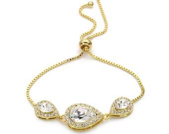 Wedding Bracelet 14K Gold plated Swarovski Clear Crystal Bracelet Bridesmaids gift Bridal Bracelet Wedding Bracelet Bridesmaid Bracelet