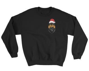 Funny Rottweiler Dog Pocket Ugly Christmas Sweater