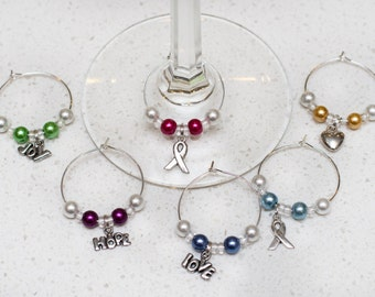 Breast Cancer Wine Charms, Set of 6, Free Shipping