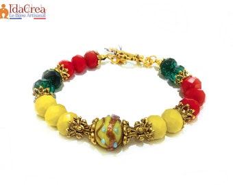 Bracelet multicolor Lampwork Glass antique gold