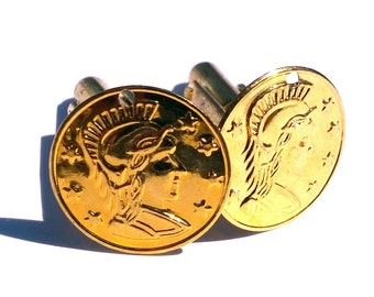 Roman coin cuff links in gold