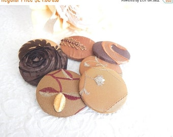 CLEARANCE - 12  brown mix fabric covered buttons, size 75