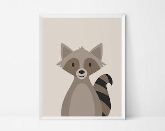 Raccoon printable, Nursery printable, Woodland Animal Wall art, nursery Decor, raccoon print, woodland nursery print, animal nursery art