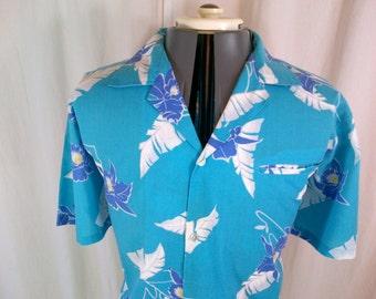 1980s Made In Hawaii blue cotton & polyester Hawaiian aloha shirt L