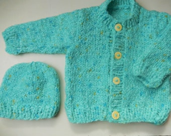 knitted baby cardigan / hand knit baby boy sweater / soft cardigan and hat / blue baby sweater / baby boy hat / 0-3 month cardigan set