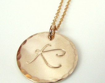 Gold Letter Necklace, Hammered, Shiny, Brushed Gold Initial Charm Necklace, 14K Gold Filled, LYLA by E. Ria Designs