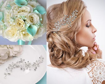 Wedding hair vine, Rhinestone bridal flexible hair vine, Crystal Vine Comb, bridal hair accessories, Fiona Hair Vine