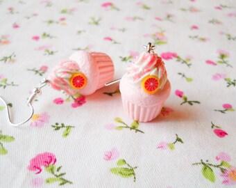 Pink Grapefruit Cupcake Earrings, Cute Earrings, Cupcake, Kawaii Earrings, Sweet Lolita, Polymer Clay, Charm Earrings, Food Earrings, Fruit