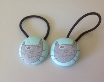 Cat hair ties, Cat fabric covered button hair tie pair