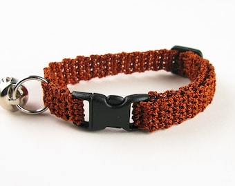 Crochet Cat Collar Rust Bronze Crochet Kitty Kitten Cat Collar