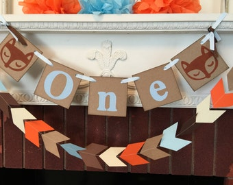 Woodland fox Birthday decorations - tribal 1st birthday banner - one banner - fox high chair banner  - your color choices