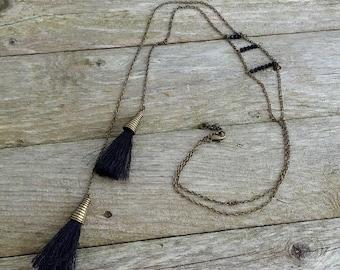 Asymmetric Black Tassel Necklace *OH