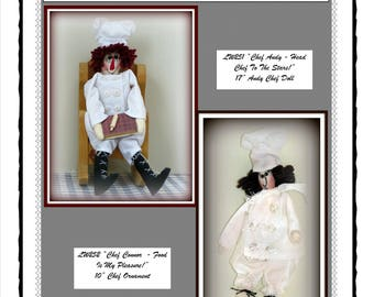 "2 in 1 ""Chef Andy - Head Chef To The Stars! and Chef Connor - Food Is My Pleasure!!"" Chef Dolls Combo E-Pattern"