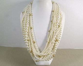 Vintage Gold Tone Multi Strand Lucite Bead Necklace DL# 5046