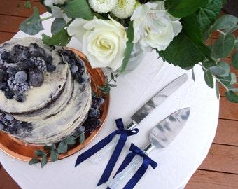 Cake Cutter Set- FREE shipping white glitter & navy, wedding cake server, cake knife, winter wedding