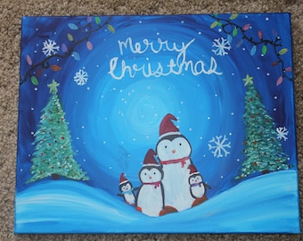 Christmas Penguin Painting