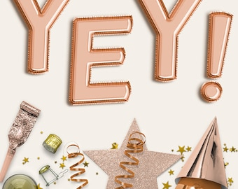 Copper Balloon Letters Clipart, Uppercase Copper Balloons Alphabet, Birthday Party, Wedding, Baby Shower Decoration, Invites, BUY5FOR8