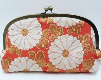 SALE ITEM - Clutch bag, Orange and white chrysanthemum design with peach kimono fabric lining