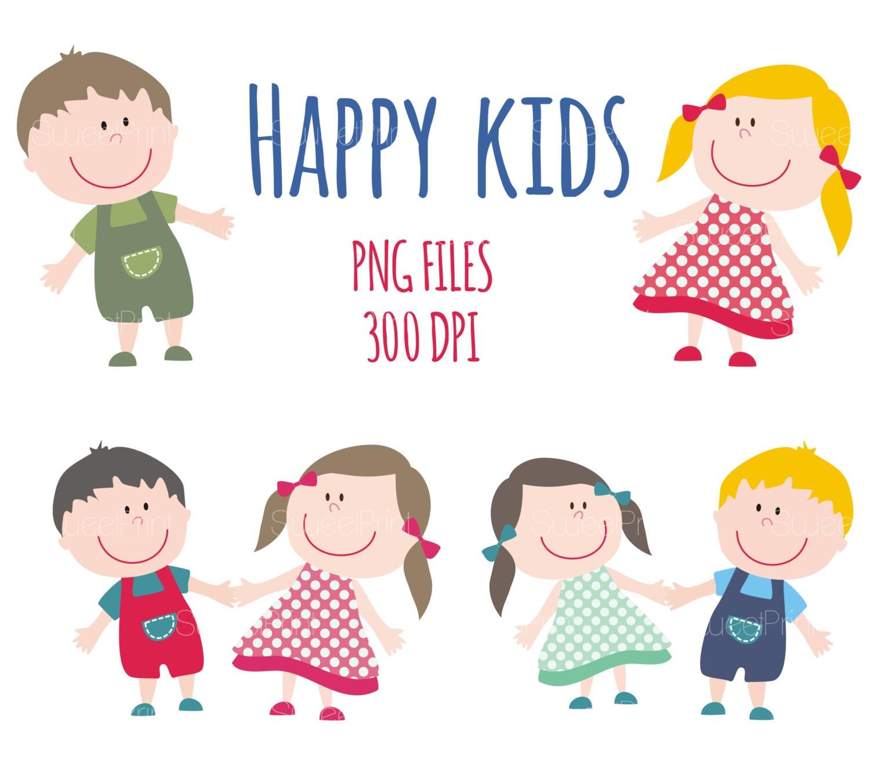 happy smile kids clipart children clip art boy and girl rh etsy com happy kids clip art pictures Happy People Clip Art