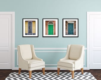 NOLA Doors Triptych - New Orleans Architecture - Travel Photography