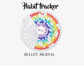 Habit Tracker - Circular - Bullet Journal - Printable - Circle - Round - Template