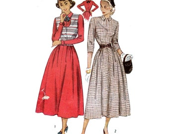 """1940s Dress Sewing Pattern Fitted Bodice Flared Skirt with Weskit Vest Vintage Size 14 Bust 32"""" (81 cm) Simplicity 2633 G"""